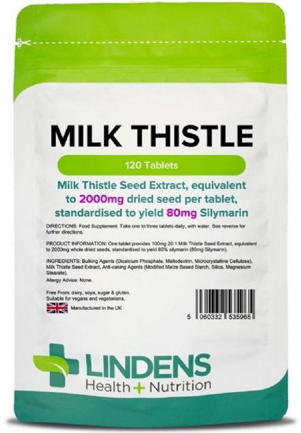 Milk Thistle Seed (equivalent to 2000mg) x 120 Tablets; Detox & Liver; Lindens